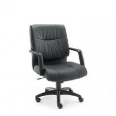 Alera Plus Stratus Series Leather Mid-Back Swivel/Tilt Chair, Black